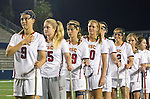 Costa Mesa, CA 02/20/16 - Carley Horan (USC #9), Caroline Cordrey (USC #15), Shannon Nugent (USC #29), Lydia Sutton (USC #20), Michaela Michael (USC #2) listen to the national anthem before the start of their game against Duke.
