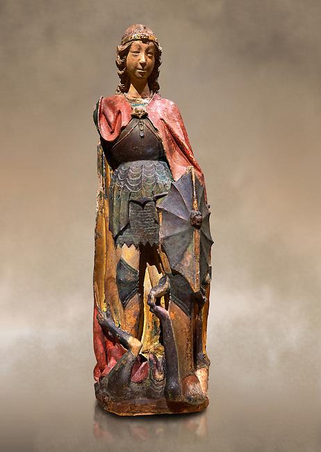 Gothic terracotta statue of the Archangel Gabriel attributed to Lorenzo Mercadante de Bretanya of Seville, circa 1460, from the convent of Santa Clara de Fregenal de la Sierra, Badajoz..  National Museum of Catalan Art, Barcelona, Spain, inv no: MNAC  4367. Against a art background.