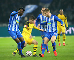 16.03.2019, OLympiastadion, Berlin, GER, DFL, 1.FBL, Hertha BSC VS. Borussia Dortmund, <br /> DFL  regulations prohibit any use of photographs as image sequences and/or quasi-video<br /> <br /> im Bild Jordan Torunarigha (Hertha BSC Berlin #25), Arne Maier (Hertha BSC Berlin #23), Christian Pulisic (Borussia Dortmund #22)<br /> <br />       <br /> Foto &copy; nordphoto / Engler