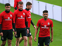 Neil Taylor (R) warms up during the Wales Training Session at the Vale Resort, Hensol, Wales, UK. Tuesday 29 August 2017