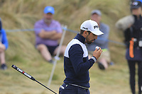 Matthieu Pavon (FRA) on the 1st green during Saturday's Round 3 of the 2018 Dubai Duty Free Irish Open, held at Ballyliffin Golf Club, Ireland. 7th July 2018.<br /> Picture: Eoin Clarke | Golffile<br /> <br /> <br /> All photos usage must carry mandatory copyright credit (&copy; Golffile | Eoin Clarke)