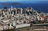 aerial photograph AT&T Giants baseball park skyline SOMA San Francisco California