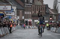 race winner Guillaume van Keirsbulck (BEL/Wanty-Groupe Gobert) crossing the finish line<br /> <br /> GP Le Samyn 2017 (1.1)