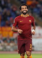 Calcio, Europa League: Roma vs Astra Giurgiu. Roma, stadio Olimpico, 29 settembre 2016.<br /> Roma&rsquo;s Mohamed Salah celebrates after Astra Giurgiu&rsquo;s Fabricio, not pictured, scored an own goal during the Europa League Group E soccer match between Roma and Astra Giurgiu at Rome's Olympic stadium, 29 September 2016. Roma won 4-0.<br /> UPDATE IMAGES PRESS/Riccardo De Luca