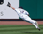 Reno Aces A.J. Pollock can't make the catch on a line drive against the Sacramento River Cats during their play off game played on Sunday afternoon, September 9, 2012 in Reno, Nevada.