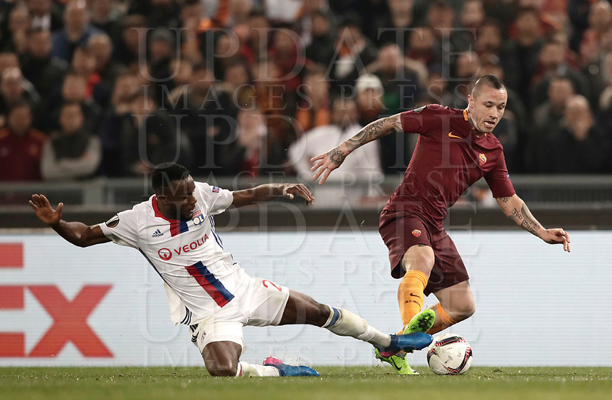 Football Soccer: Europa League Round of 16 second leg, Roma-Lyon, stadio Olimpico, Roma, Italy, March 16,  2017. <br /> Lyon's Maxwel Cornet (l) in action with Roma's Radja Naingollan (r) during the Europe League football soccer match between Roma and Lyon at the Olympique stadium, March 16,  2017. <br /> Despite losing 2-1, Lyon reach the quarter finals for 5-4 aggregate win.<br /> UPDATE IMAGES PRESS/Isabella Bonotto