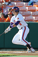 Third Baseman Richie Shaffer #8 of the Clemson Tigers swings at a pitch during  a game against the North Carolina Tar Heels at Doug Kingsmore Stadium on March 9, 2012 in Clemson, South Carolina. The Tar Heels defeated the Tigers 4-3. Tony Farlow/Four Seam Images.