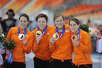 OLYMPICS: SOCHI: Adler Arena, 22-02-2014, Team Pursuit, TeamNL (NED), Marrit Leenstra, Jorien Ter Mors, Lotte van Beek, Ireen Wust, ©photo Martin de Jong