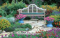 63821-078.15 Bench in Bird & Butterfly Flower Garden  Marion Co.  IL