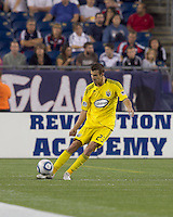 Columbus Crew defender Eric Brunner (23) passes the ball. The New England Revolution tied Columbus Crew, 2-2, at Gillette Stadium on September 25, 2010.
