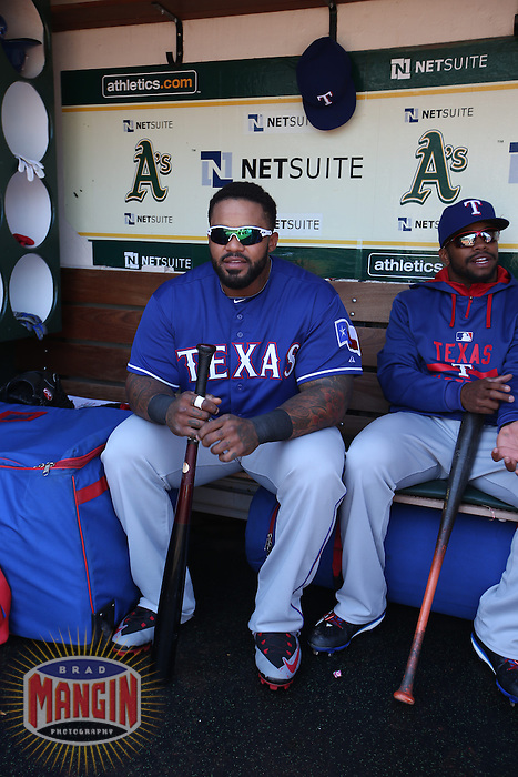 OAKLAND, CA - APRIL 9:  Prince Fielder #84 of the Texas Rangers sits in the dugout before the game against the Oakland Athletics at O.co Coliseum on Thursday, April 9, 2015 in Oakland, California. Photo by Brad Mangin