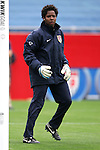 14 April 2007: United States goalkeeper Briana Scurry, pregame. The United States Women's National Team defeated the Women's National Team of Mexico 5-0 at Gillette Stadium in Foxboro, Massachusetts in an international friendly game.