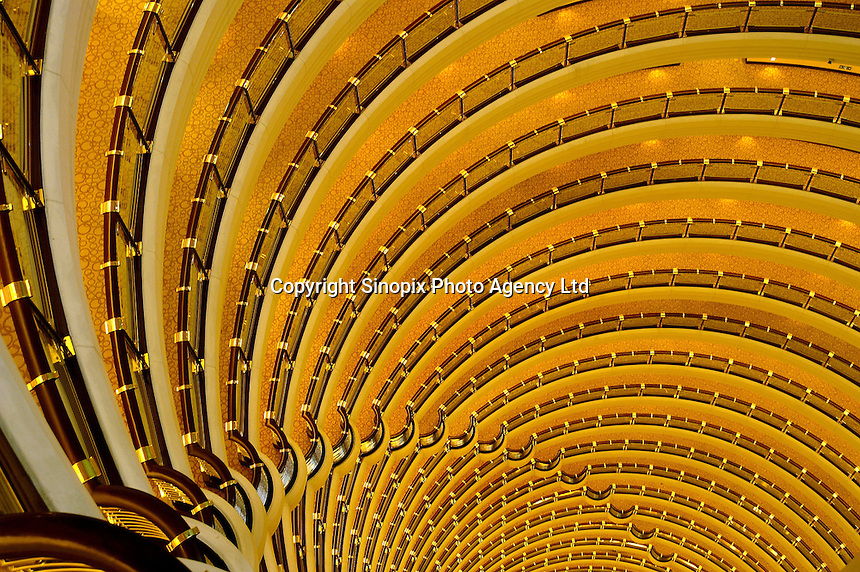 The dramatic interior Atrium of the Jin Mao Tower, China's tallest building. The 150 metre high interior space is circled by corridors leading to the rooms of the Grand Hyatt Hotel which occupies the upper floors of the building..