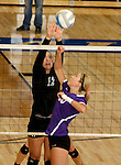 SIOUX FALLS, SD - SEPTEMBER 25: Paige DeJong #12 from Sioux Falls Christian defends as Lindsey Smith #10 from Dakota Valley tips the ball over the net in the third game of their match Thursday night at Sioux Falls Christian High.  (Photo by Dave Eggen/Inertia)