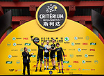 Mitchelton-Scott team on the podium at the end of the 2018 Shanghai Criterium, Shanghai, China. 17th November 2018.<br /> Picture: ASO/Alex Broadway | Cyclefile<br /> <br /> <br /> All photos usage must carry mandatory copyright credit (&copy; Cyclefile | ASO/Alex Broadway)