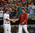 (L-R) Derek Holland, Yu Darvish (Rangers),<br /> AUGUST 1, 2013 - MLB :<br /> Yu Darvish of the Texas Rangers celebrates with his teammate Derek Holland after the Major League Baseball game against the Arizona Diamondbacks at Rangers Ballpark in Arlington in Arlington, Texas, United States. (Photo by AFLO)