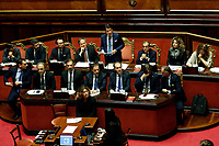 Italian Premier Giuseppe Conte in agenda view of the Ministers desk<br /> Rome December 19th 2018. Senate. Speech of the Italian Premier about the results of the negotiation with the European Union about the  budget plan.<br /> Foto Samantha Zucchi Insidefoto