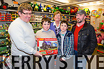Brendan O'Brien from the Kerry Model Railway Club presented Johnny Foley, Lixnaw, winner of the Clubs raffle, held recently at Blennervile, sponored by  Caball's Toymaster. Pictured Brendan O'Brien, Johnny Foley, Ann Laide,  Paddy Foley, John Foley