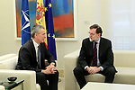The President of the Government of Spain, Mariano Rajoy (r), receives the Secretary General of NATO Jens Stoltenberg at the Moncloa Palace. January 25,2018. (ALTERPHOTOS/Acero)