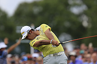 Hideki Matsuyama (JPN) tees off the 1st tee to start Saturday's Round 3 of the 2017 PGA Championship held at Quail Hollow Golf Club, Charlotte, North Carolina, USA. 12th August 2017.<br /> Picture: Eoin Clarke | Golffile<br /> <br /> <br /> All photos usage must carry mandatory copyright credit (&copy; Golffile | Eoin Clarke)