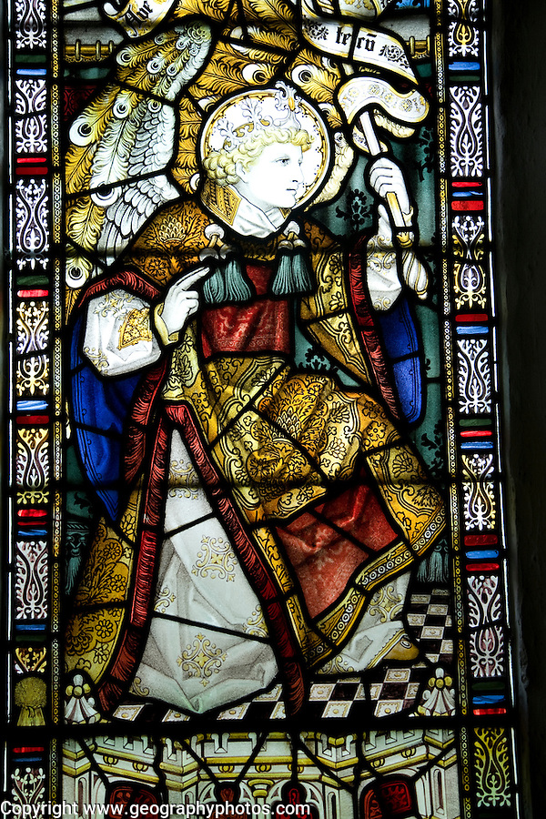 Stained glass angel Gabriel by Charles Eamer Kempe, Church of St Botolph, Burgh, Suffolk