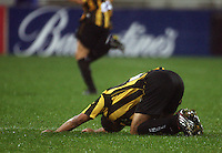 Phoenix striker Paul Ifill gets up after losing possession during the A-League football match between Wellington Phoenix and Perth Glory at Westpac Stadium, Wellington, New Zealand on Sunday, 16 August 2009. Photo: Dave Lintott / lintottphoto.co.nz