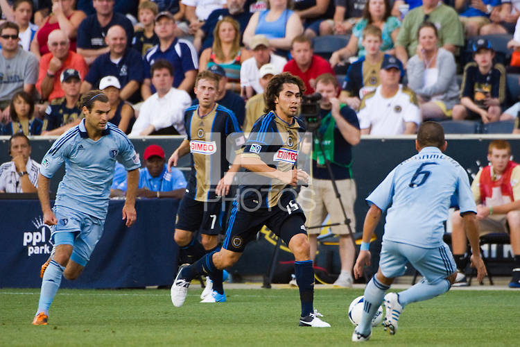Gabriel Farfan (15) of the Philadelphia Union. Sporting Kansas City defeated the Philadelphia Union 2-0 during the semifinals of the 2012 Lamar Hunt US Open Cup at PPL Park in Chester, PA, on July 11, 2012.