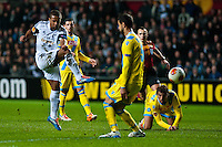 Swansea, UK. Thursday 20 February 2014<br /> Pictured: Wayne Routledge takes a ( missed ) shot at goal <br /> Re: UEFA Europa League, Swansea City FC v SSC Napoli at the Liberty Stadium, south Wales, UK