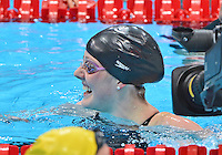 July 30, 2012..Missy Franklin reacts after winning Women's 100m Backstroke Final at the Aquatics Center on day three of 2012 Olympic Games in London, United Kingdom.