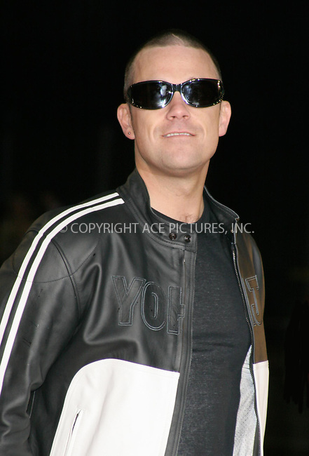 WWW.ACEPIXS.COM . . . . .  ... . . . . US SALES ONLY . . . . .....LONDON, FEBRUARY 9, 2005....Robbie Williams at the 25th Brit Awards, Earls Court.....Please byline: FAMOUS - ACE PICTURES - F. DUVAL... . . . .  ....Ace Pictures, Inc:  ..Philip Vaughan (646) 769-0430..e-mail: info@acepixs.com..web: http://www.acepixs.com