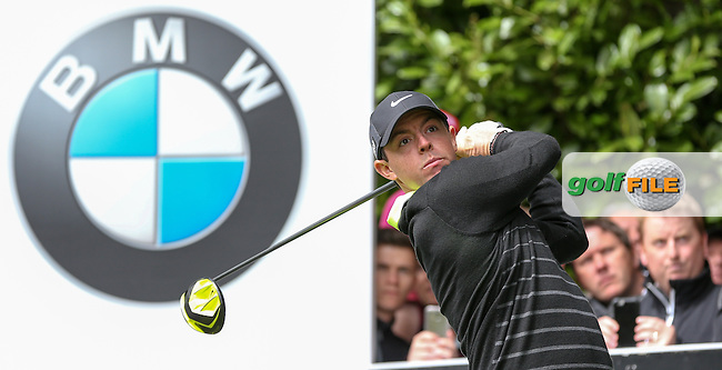 Rory MCILROY (NIR) drives down the last during the Pro-Am ahead of the 2015 BMW PGA Championship over the West Course at Wentworth, Virginia Water, London. 20/05/2015 <br /> Picture David Lloyd, www.golffile.ie: