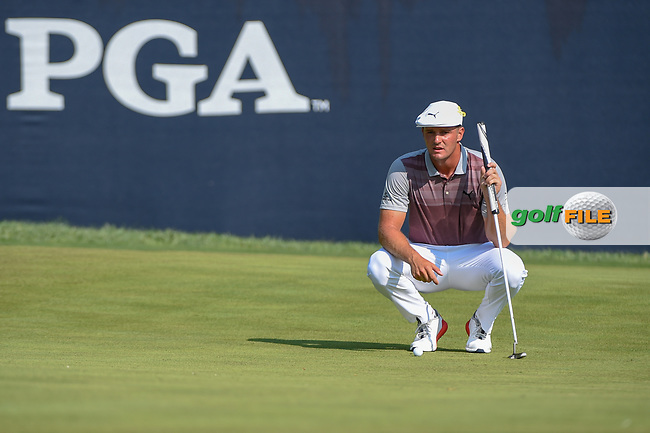 Bryson DeChambeau (USA) lines up his putt on 9 during 2nd round of the 100th PGA Championship at Bellerive Country Club, St. Louis, Missouri. 8/11/2018.<br /> Picture: Golffile | Ken Murray<br /> <br /> All photo usage must carry mandatory copyright credit (© Golffile | Ken Murray)