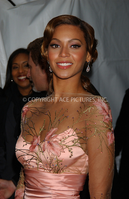 """WWW.ACEPIXS.COM . . . . . ....February 6 2006, New York City....BEYONCE KNOWLES ....Red carpet arrivals for the Columbia Pictures premiere of the """"Pink Panther"""" at the Zeigfeld Theatre. ....Please byline: KRISTIN CALLAHAN - ACEPIXS.COM.. . . . . . ..Ace Pictures, Inc:  ..Philip Vaughan (212) 243-8787 or (646) 679 0430..e-mail: info@acepixs.com..web: http://www.acepixs.com"""