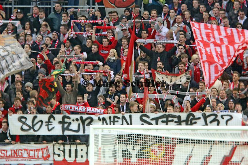 Mainzer Fans protestieren gegen Viagogo - 1. FSV Mainz 05 vs. Borussia Dortmund, Coface Arena, 14. Spieltag