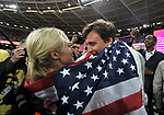 Emma COBURN (USA) celebrates with her boyfriend and the flag in the womens 3000m steeplechase final. IAAF world athletics championships. London Olympic stadium. Queen Elizabeth Olympic park. Stratford. London. UK. 11/08/2017. ~ MANDATORY CREDIT Garry Bowden/SIPPA - NO UNAUTHORISED USE - +44 7837 394578