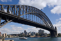 The Sydney Harbour Bridge and North Sydney from Dawes Point Park.