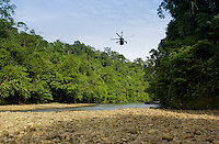 Military helicopter taking off for manoeuvres in Brunei