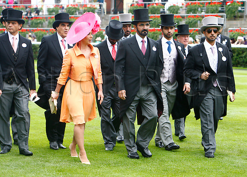 21.06.12 Ascot, Windsor, ENGLAND: Sheikh Mohammed am Rashid Al Maktoum and His wife H R H Princess Haya of Jordan with entourage at Ascot Racecourse on Ladies Day