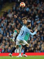 Tottenham Hotspur's Dele Alli lifts the ball over Manchester City's Bernardo Silva<br /> <br /> Photographer Rich Linley/CameraSport<br /> <br /> UEFA Champions League - Quarter-finals 2nd Leg - Manchester City v Tottenham Hotspur - Wednesday April 17th 2019 - The Etihad - Manchester<br />  <br /> World Copyright © 2018 CameraSport. All rights reserved. 43 Linden Ave. Countesthorpe. Leicester. England. LE8 5PG - Tel: +44 (0) 116 277 4147 - admin@camerasport.com - www.camerasport.com