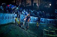 Toon Aerts (BEL/Telenet Fidea Lions) slips out of the race lead while Laurens Sweeck (BEL/Pauwels Sauzen-Vastgoedservice) overtakes him<br /> <br /> 44th Superprestige Diegem (BEL) 2018<br /> ©kramon