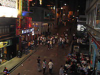 Crowds enjoying an evening at Lan Kwai Fong in Central