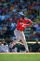 Boston Red Sox second baseman Yoan Moncada (22) at bat during a Spring Training game against the Pittsburgh Pirates on March 9, 2016 at McKechnie Field in Bradenton, Florida.  Boston defeated Pittsburgh 6-2.  (Mike Janes/Four Seam Images)