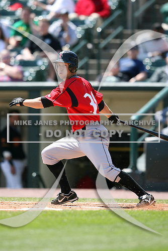 May 13, 2009:  Left Fielder Jeff Salazar of the Indianapolis Indians, International League Class-AAA affiliate of the Pittsburgh Pirates, at bat during a game at Frontier Field in Rochester, FL.  Photo by:  Mike Janes/Four Seam Images