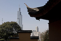 The new business district is seen from the ancient Jiming Temple in Nanjing, Jiangsu province, China, November 2012.