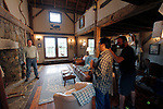 """ROXBURY, CT - 15 OCTOBER 2017 -101517JW06.jpg --  HGTV's """"You Live in What?"""" producer Kent Takano asks questions about the home of Roxbury resident Ed Cady as camera operator Dan Nugent films Sunday morning. Jonathan Wilcox Republican-American"""