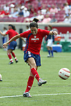 6 June 2004: Julie Foudy practices taking free kicks before the game. The United States tied Japan 1-1 at Papa John's Cardinal Stadium in Louisville, KY in an international friendly soccer game..