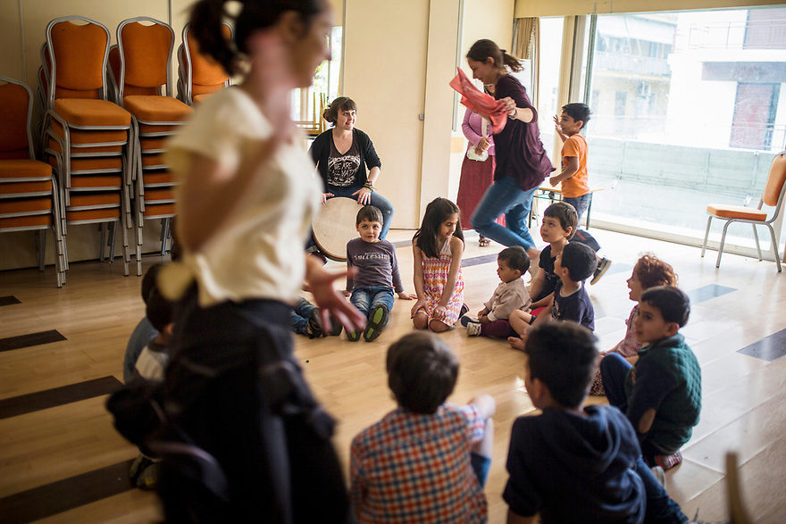 Children&rsquo;s Room <br /> Volunteers lead activities for children at the hotel, where the majority of guests are children.  Children make up a large percentage of the more than 50,000 refugees and immigrants now trapped in Greece. <br /> Photo by Jodi Hilton