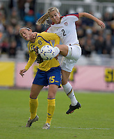 USA's Heather Mitts (2) battles to kick the ball against Sweden's Therese Sjögran (15) during the match against Sweden, Landskamp, Sweden, July 5th, 2008.