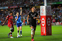 Niall Williams (New Zealand) scores during the women's final against Canada. Day two of the 2020 HSBC World Sevens Series Hamilton at FMG Stadium in Hamilton, New Zealand on Sunday, 26 January 2020. Photo: Dave Lintott / lintottphoto.co.nz