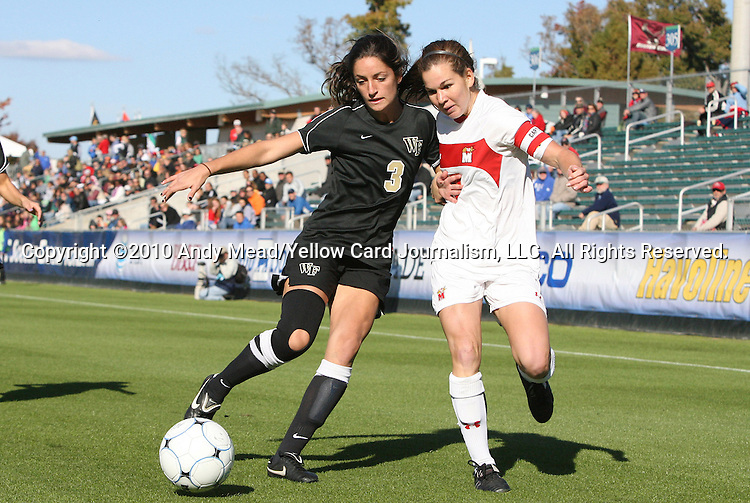 07 November 2010: Wake Forest's Victoria Delbono (3) and Maryland's Caitlin McDowell (right). The Wake Forest University Demon Deacons defeated the University of Maryland Terrapins 3-1 on penalty kicks after the game ended in a 1-1 tie after overtime at WakeMed Stadium in Cary, North Carolina in the ACC Women's Soccer Tournament championship game.